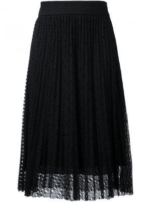 Плиссированная кружевная юбка Philosophy Di Lorenzo Serafini. Цвет: чёрный