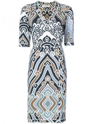 Платье с V-образным вырезом поясом Leonard. Цвет: белый