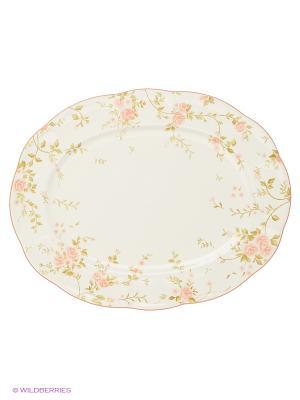 Блюдо овальное 32см Садовая роза Quality Ceramic. Цвет: белый
