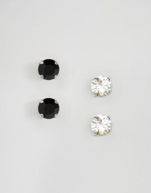 Krystal Набор из двух пар серег-гвоздиков с кристаллами Swarovski Lond. Цвет: серебряный