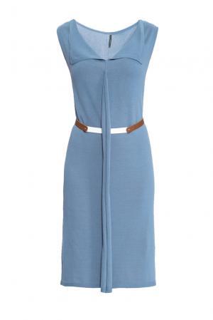Трикотажное платье с поясом 159905 Firkant. Цвет: синий