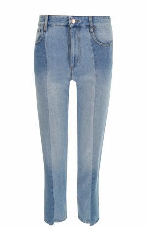 Укороченные джинсы прямого кроя с потертостями Isabel Marant Etoile. Цвет: голубой