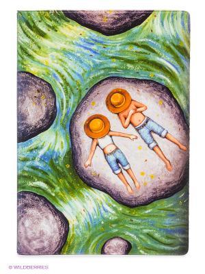 Обложка для автодокументов Мечтатели в панамах на речке Mitya Veselkov. Цвет: зеленый, белый, сливовый