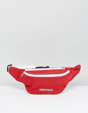 Granted Красная сумка-кошелек на пояс с надписью русском языке. Цвет: красный