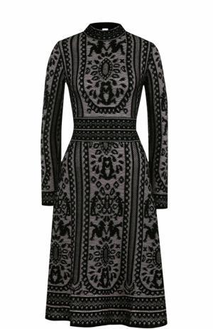Вязаное платье-миди с длинным рукавом M Missoni. Цвет: черный