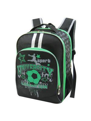 Портфель ученический Stelz. Цвет: черный, зеленый