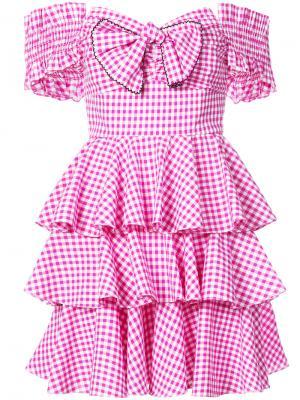 Платье в клетку с оборками Caroline Constas. Цвет: розовый и фиолетовый