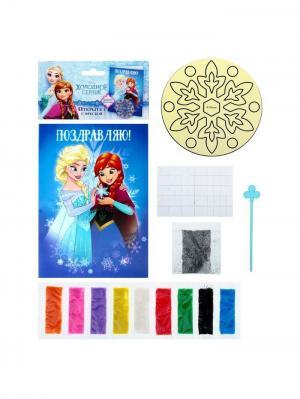 Фреска-открытка, Холодное сердце Disney. Цвет: черный, желтый, зеленый, коралловый, лазурный, малиновый, молочный, оранжевый, серебристый, синий