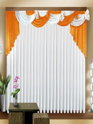 Комплект штор ZLATA KORUNKA. Цвет: белый, оранжевый
