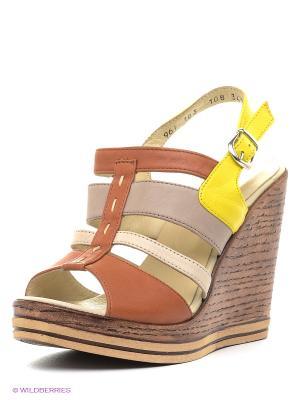 Босоножки DAKKEM. Цвет: коричневый, желтый