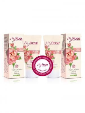 Набор: Крем для лица дневной увлажняющий Face Cream My Rose OF BULGARIA, (50 мл X 2 шт) Lavena. Цвет: бледно-розовый, белый, розовый