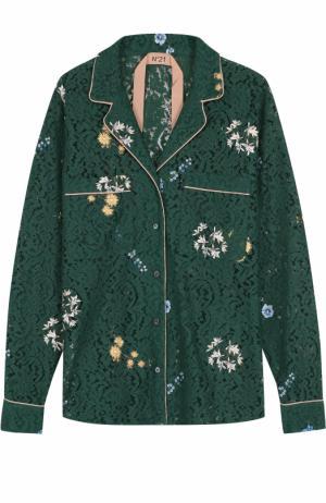 Кружевная блуза в пижамном стиле вышивкой No. 21. Цвет: зеленый