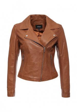 Куртка кожаная Arma. Цвет: коричневый