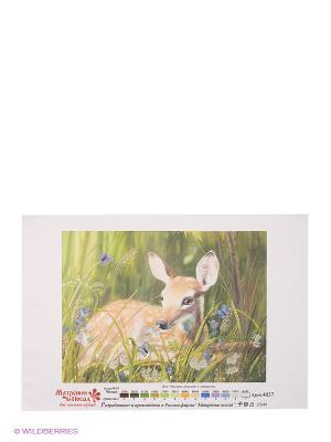 Рисунок на шелке Олененок Матренин Посад. Цвет: зеленый