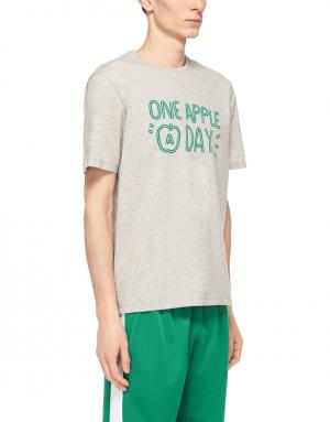 Хлопковая футболка Ami. Цвет: серый, зеленый