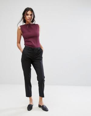 Selected Укороченные брюки слим с добавлением шерсти Foxy Lux. Цвет: черный