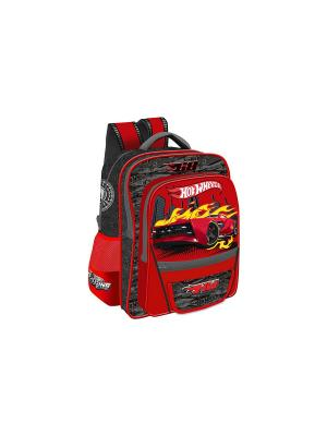 Рюкзак Junior Hot Wheels ортопедическая спинка Mattel. Цвет: красный