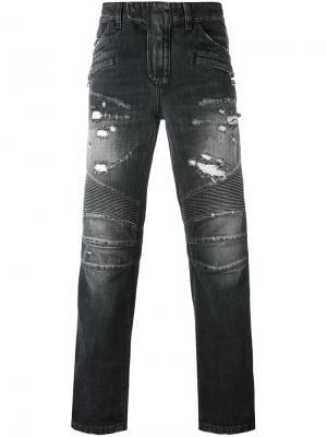 Байкерские джинсы Balmain. Цвет: серый