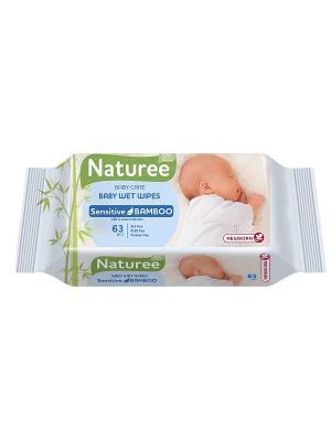 Влажные салфетки для детей NATUREE Sensitive Bamboo 63шт SPA COTTON. Цвет: зеленый, бежевый