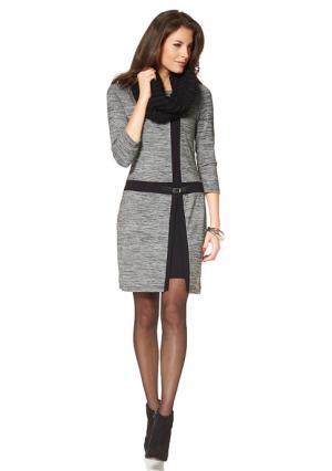Платье VIVANCE. Цвет: серый меланжевый/черный
