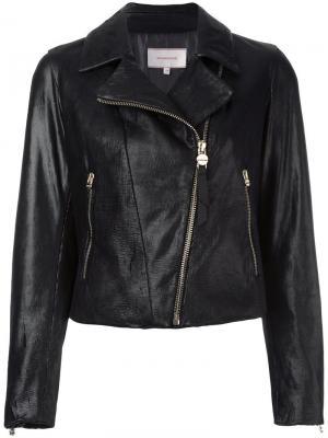 Классическая байкерская куртка Borbonese. Цвет: чёрный