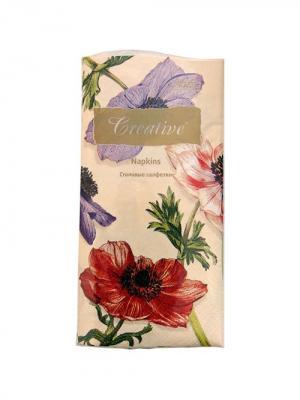 Салфетки Creative Snacks 33х33 см, Цветущие Анемоны, 3-слойные, 16 шт./уп Aster. Цвет: бежевый, лиловый, малиновый