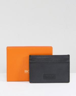 BOSS Orange Черная кожаная кредитница by Hugo. Цвет: черный