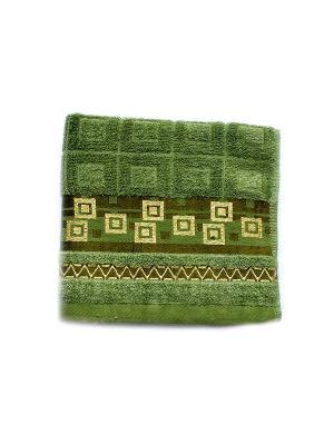 Полотенце Золотой квадрат 50х90 La Pastel. Цвет: зеленый