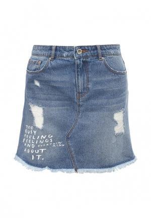 Юбка джинсовая Springfield. Цвет: голубой