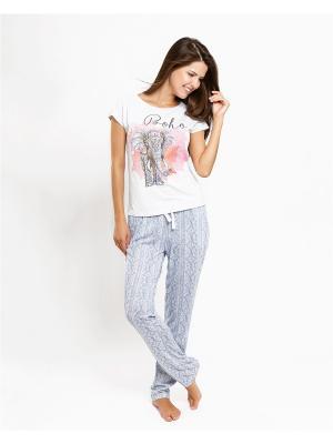 Комплект одежды: футболка; брюки Mark Formelle. Цвет: серо-голубой, белый, голубой