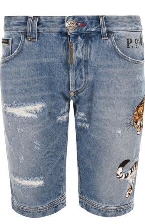 Джинсовые шорты с потертостями Philipp Plein. Цвет: голубой