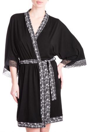 Халат-кимоно короткий Rose&Petal Homewear. Цвет: черный, коко принт