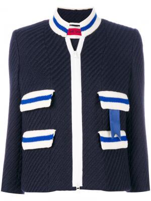 Пиджак на молнии в рубчик The Gigi. Цвет: синий