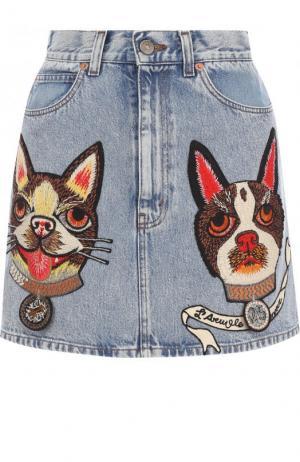 Джинсовая мини-юбка с вышивкой Gucci. Цвет: голубой
