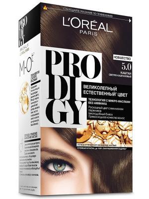 Краска для волос Prodigy без аммиака, оттенок 5.0, Каштан L'Oreal Paris. Цвет: коричневый, белый, черный