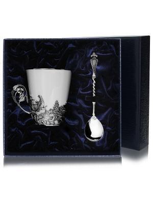 Набор чашка чайная Тетерев+ложка (2предмета) пр.925+футляр АргентА. Цвет: серебристый