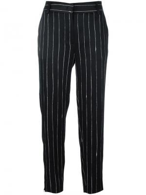 Атласные брюки в тонкую полоску DKNY. Цвет: чёрный