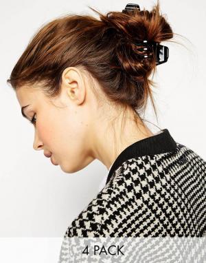 ASOS Набор из 4 больших зажимов для волос. Цвет: черный