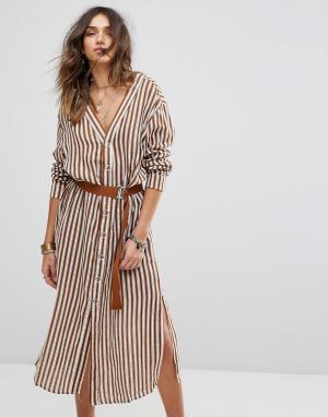 Moon River Платье-рубашка в полоску. Цвет: коричневый