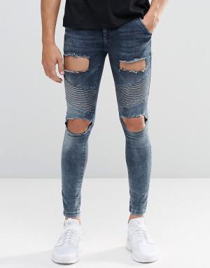 SikSilk Байкерские джинсы скинни с рваной отделкой. Цвет: синий