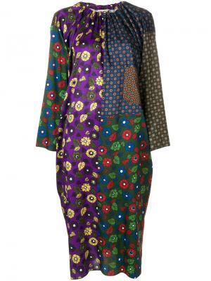Платье с контрастным узором Hache. Цвет: многоцветный