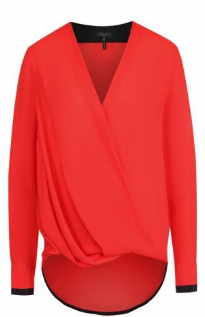 Шелковая блуза с V-образным вырезом и драпировкой Rag&Bone. Цвет: красный