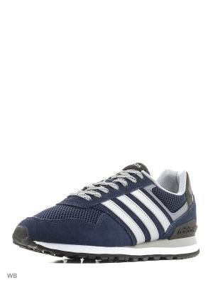 Кроссовки 10K  CONAVY/MSILVE/CLONIX Adidas. Цвет: темно-синий, белый, серебристый