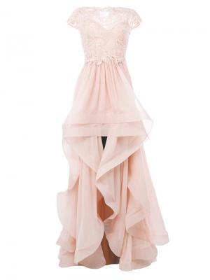 Платье с кружевом Zuhair Murad. Цвет: розовый и фиолетовый