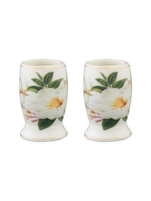 Набор из двух вазочек под зубочистки Белый шиповник Elan Gallery. Цвет: белый, зеленый
