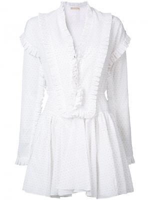 Платье в горошек с рюшами Alaïa. Цвет: белый