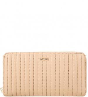 Стеганый кошелек из натуральной кожи DKNY. Цвет: полоска