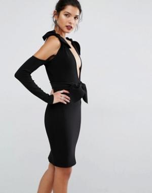 Bec & Bridge Платье с глубоким вырезом и узлом лепестками. Цвет: черный