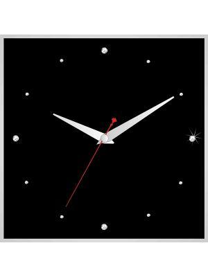Часы в алюминиевой рамке со стразами 400*400мм ДСТ. Цвет: черный