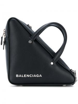 Треугольная сумка-тоут с логотипом Balenciaga. Цвет: чёрный